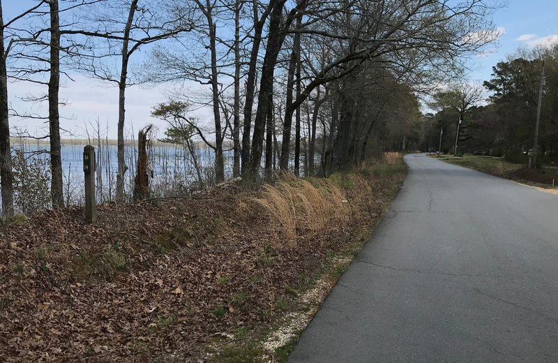 After the levee section ends, a road section about 1.25 miles long starts just after mile marker 13.