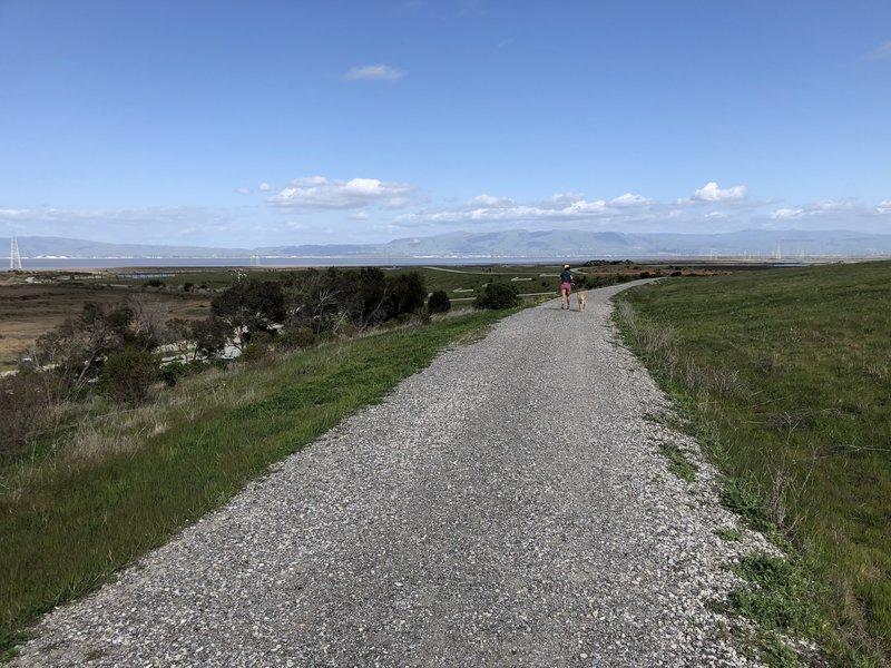 Wide gravel road.