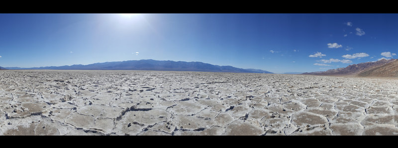 Badwater Basin Crossing, looking west. This panorama has a >180° FOV; the mountains on the east side of the crossing are visible on the edges of the picture.