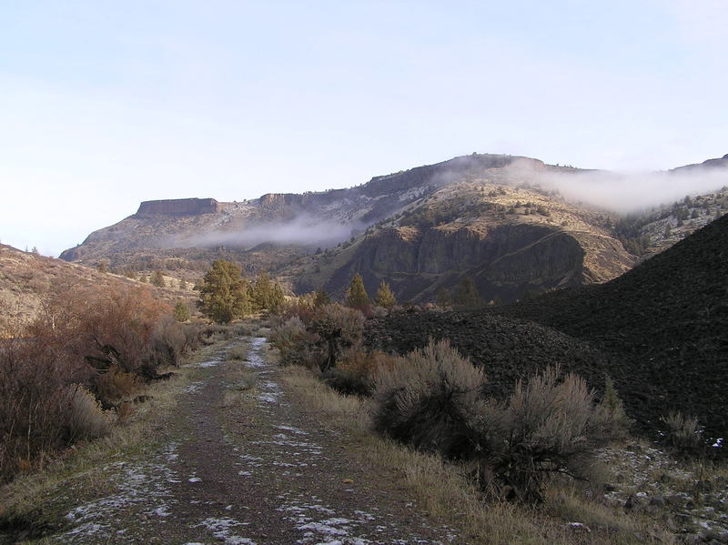 Trout Creek trail showing columnar basalt cliff. (01-10-2019)