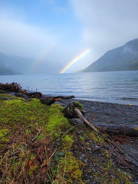 Double Rainbow Over Lake Cresent.