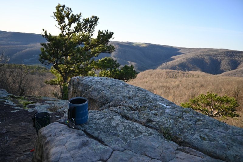 Looking over the Buffalo River valley from Antenna Pine while waiting for coffee.