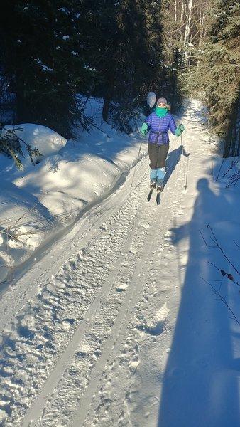 Skiing the long gradual run down O'Connor Creek Valley.