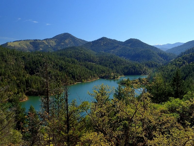 Applegate Lake and Little Grayback Mountain from the Witcome Trail.