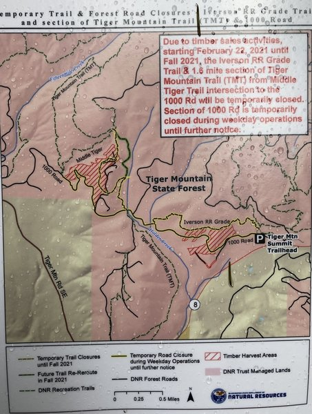 Parts of this trail are closed during weekdays due to logging activity.