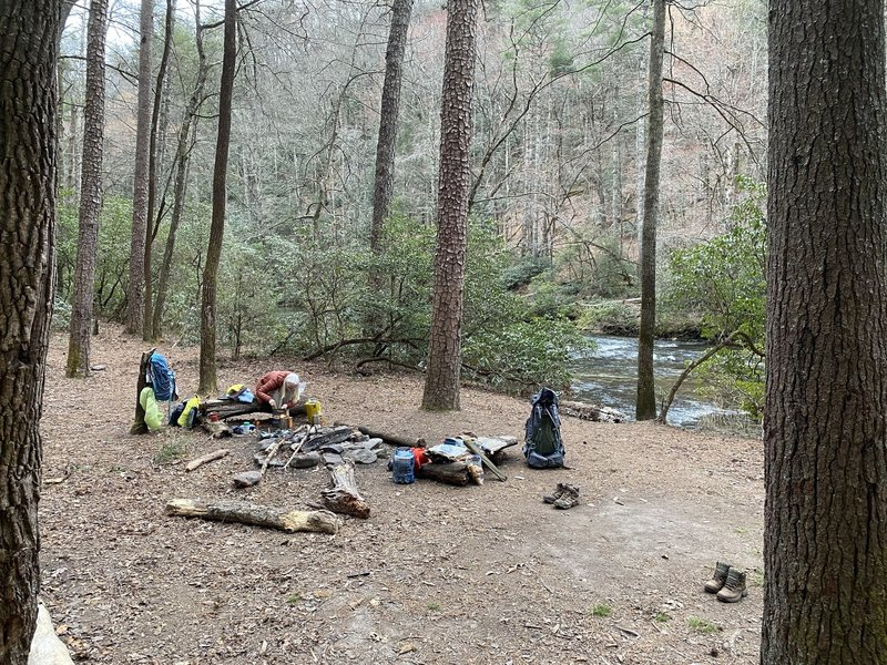 Campsite at Simms Field - super flat and right next to the river.