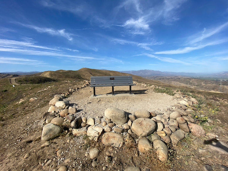 The memorial bench at the end of the Harmon Canyon overlook trail