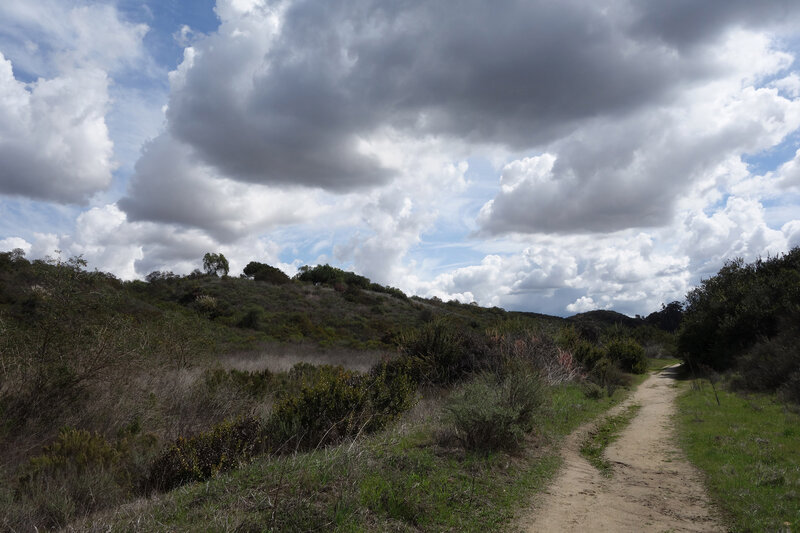 Shaw Valley trail under partly cloudy skies.