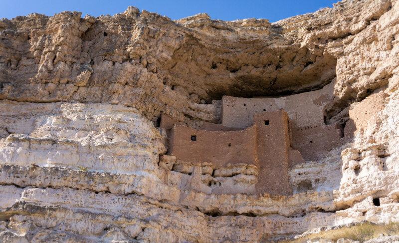 Ancient Montezuma Castle built into the rocks.