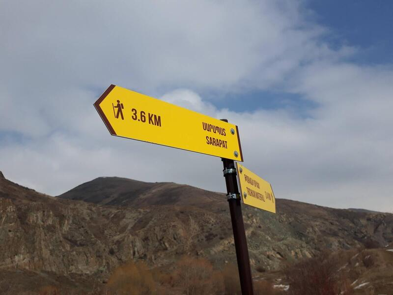 Signposts on trail