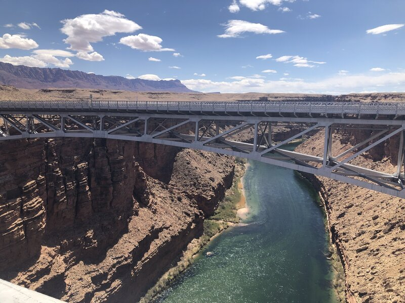 The Navajo Bridge spanning over Marble Canyon and the Colorado River.