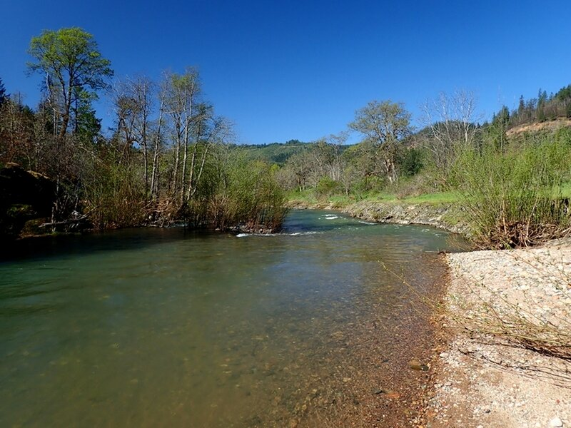 The little beach at the popular swimming/wading spot along Elk Creek.