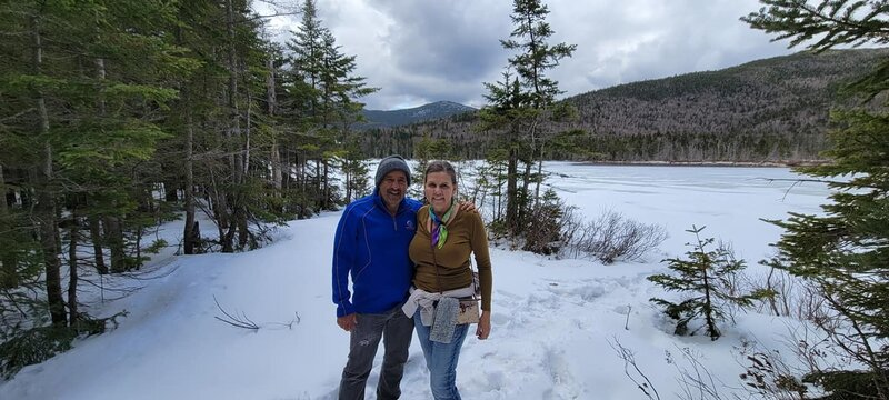 Lonesome Lake for two Texans in NH Spring Snow