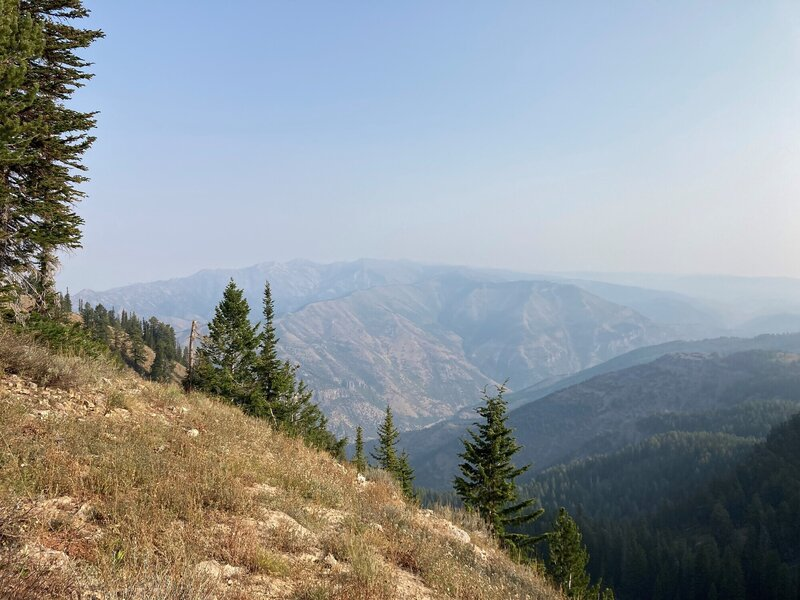 Looking at down to Logan Canyon. Low air quality so low visibility.