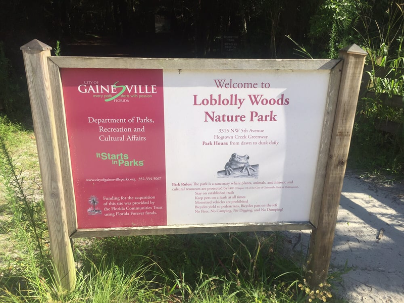 Welcome sign to Loblolly Woods Nature Park