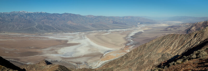 Death Valley from Dantes View. Badwater is 5500 feet below. The Panamint Range frames the valley from the other side and Telescope Peak is still slightly dusted with snow.
