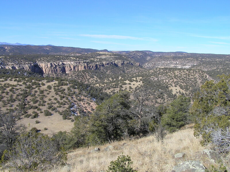 View northwest from trail on final ascent to North Mesa showing canyon that contains Middle Fork Gila River (12-26-2006)