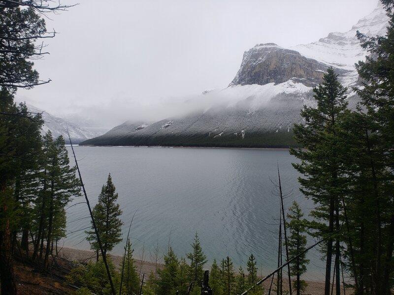Looking across Lake Minnewanka towards the NE flank of Mt. Inglismaldie.