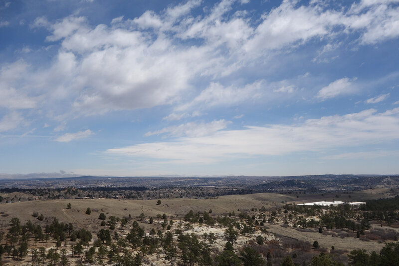 View NEE from Ute Valley Park toward Hewlett Packard Enterprise buildings.