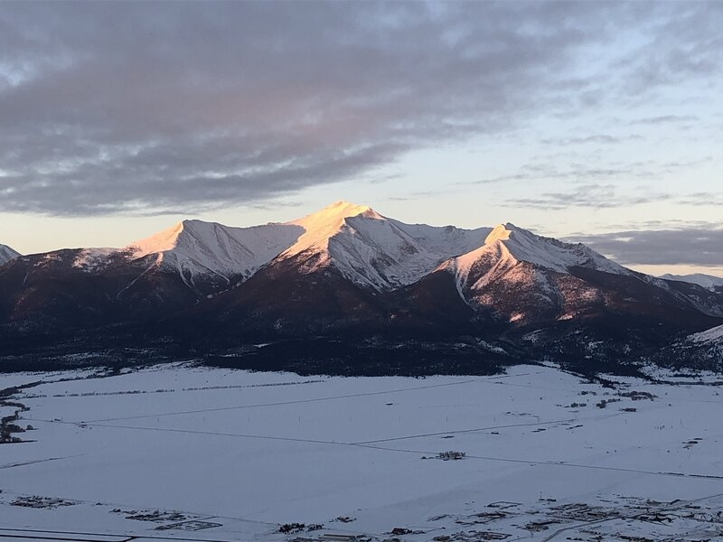 Sunrise hitting Mt. Princeton from the top of Midland Hill, 1/1/21