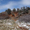 Primary colors at the Garden of the Gods with a hint of April snow.