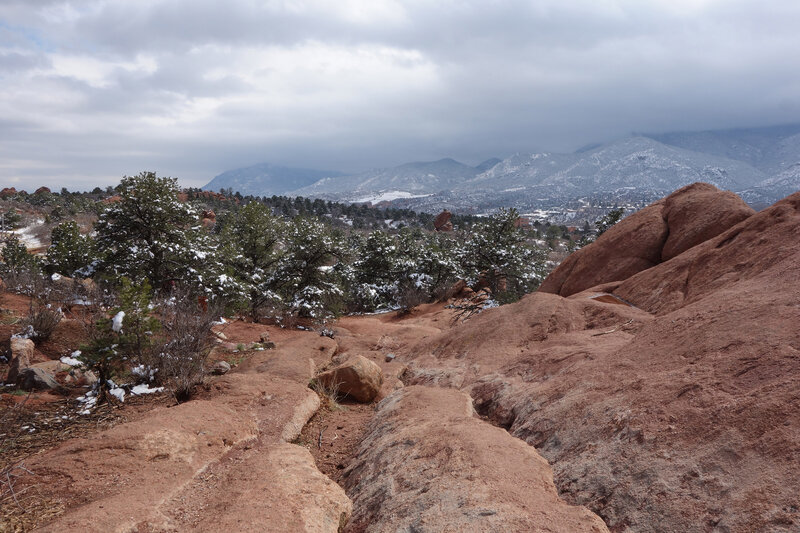 View south from near the P8 parking lot and the Buckskin Charley trail at the Garden of the Gods.