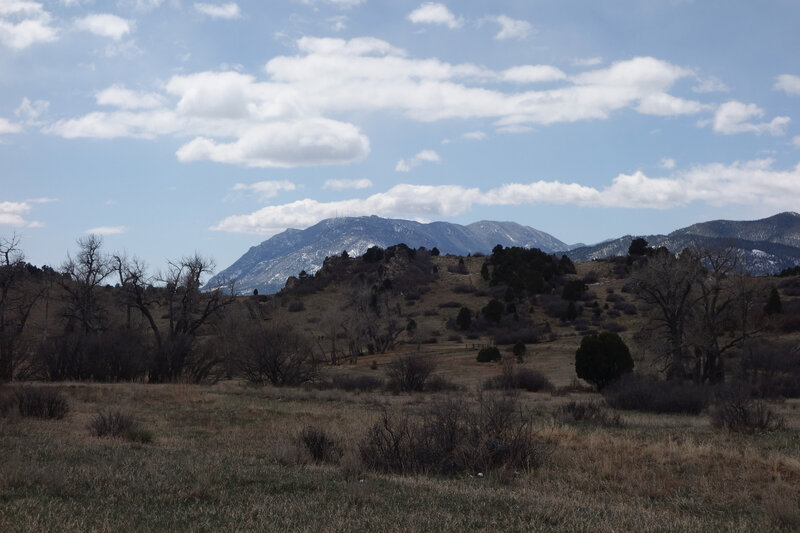 View south towards Cheyenne Mountain from the Chamber Trail at the Garden of the Gods