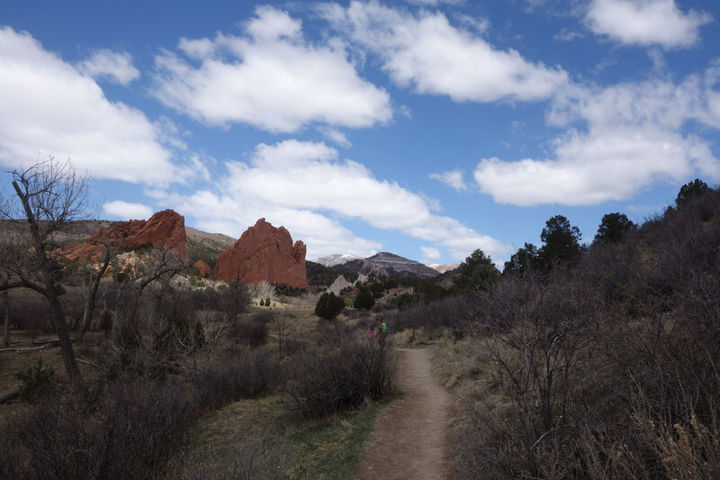 South (left) and North (center left) Gateway Rocks with Ormes Peak (center) in the distance viewed from the Chambers trail.