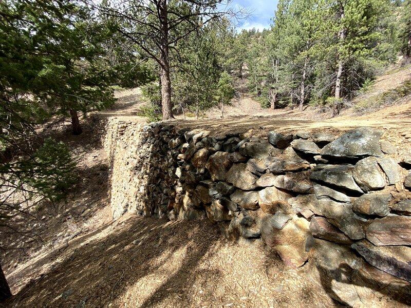 Historic mining-era retaining wall for the Historic Gilpin Tramway