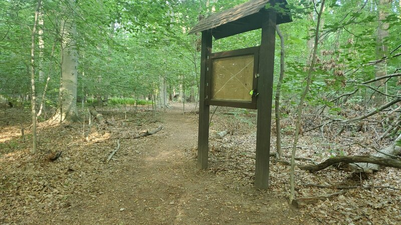 The post that denotes the beginning of the Hidden Pond Trail.