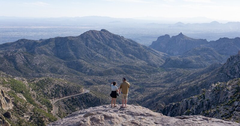 Looking out over the Santa Catalina Mountains from Windy Point.