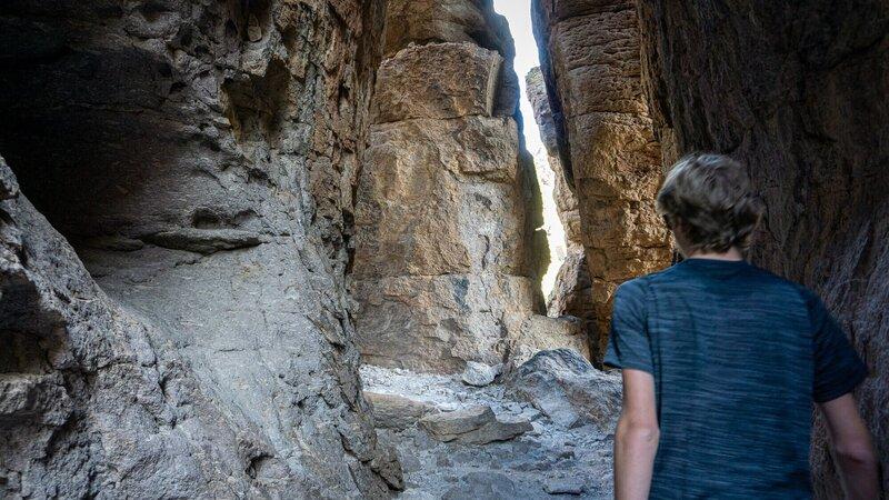 Hiking through narrow Echo Canyon.