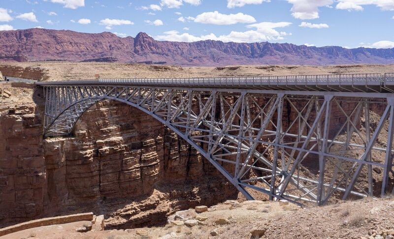 The historic Navajo Bridge from the viewpoint.