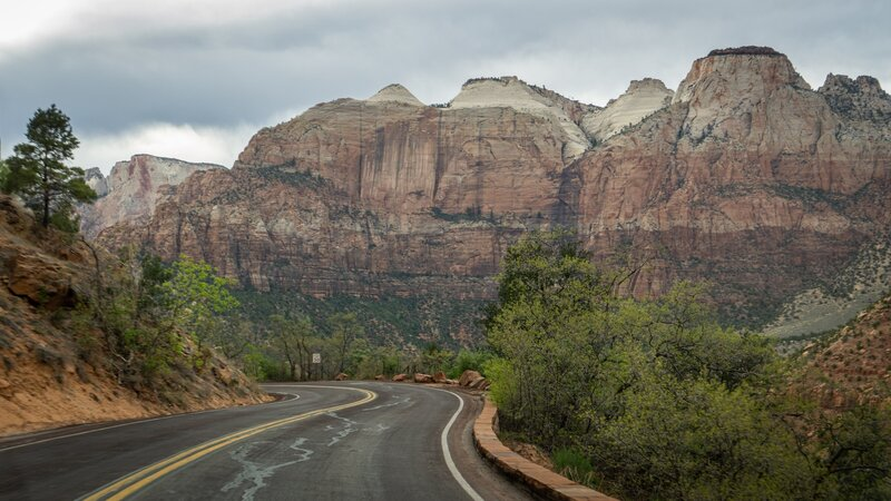 Emerging into Zion Canyon along the highway.