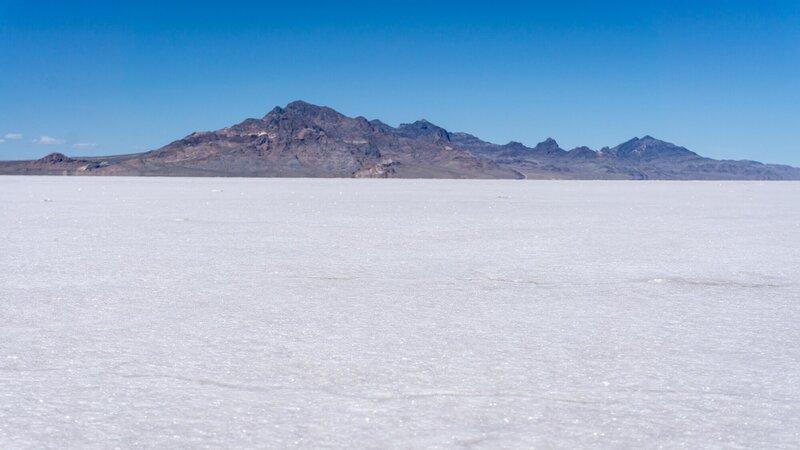 Mountains rising above the Bonneville Salt Flats.