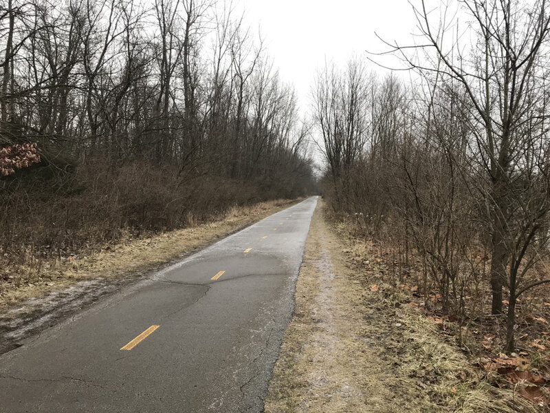 Looking south on Olentangy Trail near the Buckeye Swamp on a cold day.