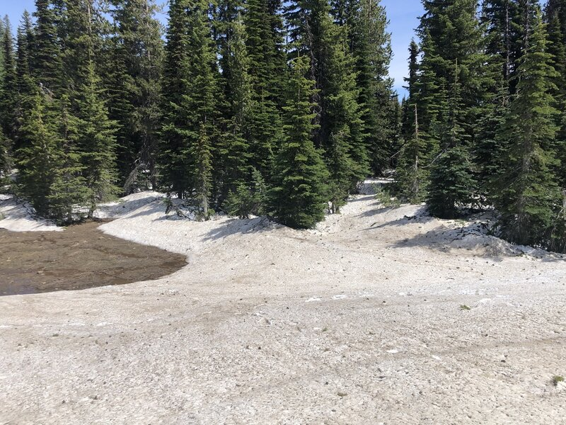 Snow bank on top. Lost trail to continue.