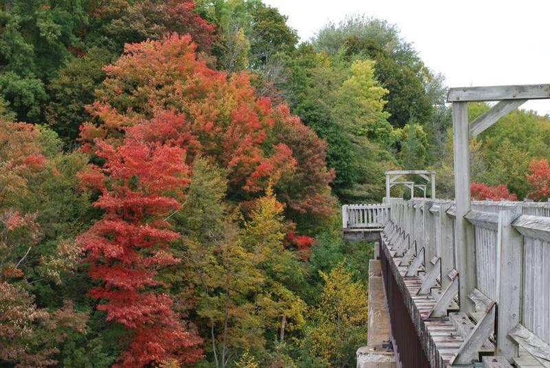 Menesetung Bridge in the fall near Goderich.