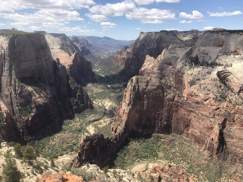 Looking out from Observation Point. Angel's Landing is down there!