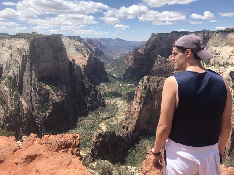 Looking down on Zion Valley