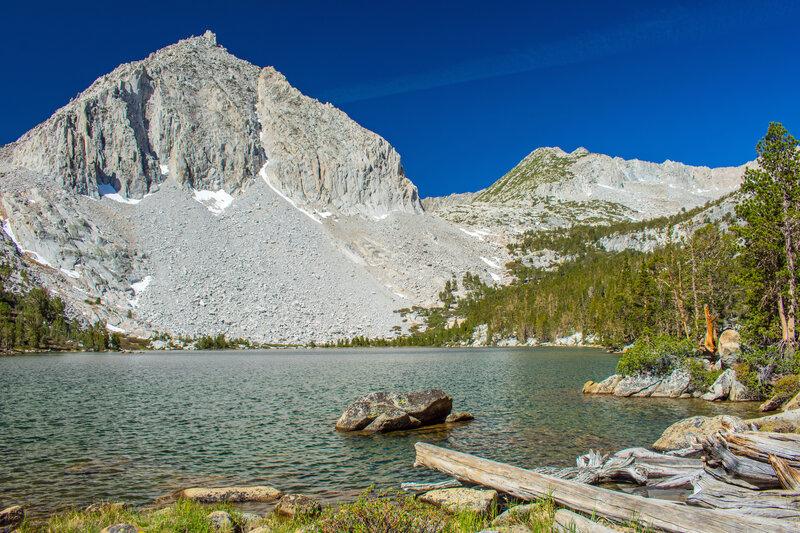 Hilton Lake 4 is directly below the edge of the ridge leading to Mt. Huntington.