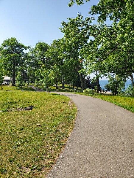Paved trails at Lake Ontario Park.