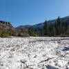 A snow covered meadow along the Tuolumne River.