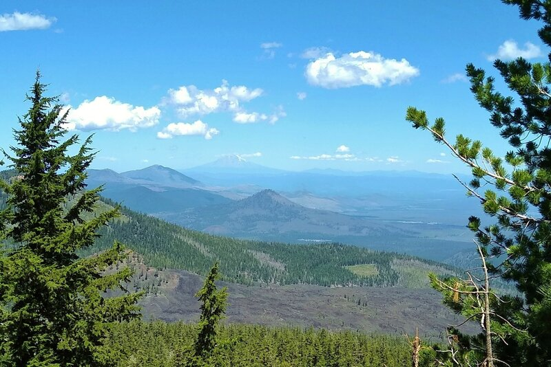 Looking northwest from the top of Prospect Peak, in the far distance, over 70 miles away, is Mt. Shasta, 14,179 ft. (just left of center).