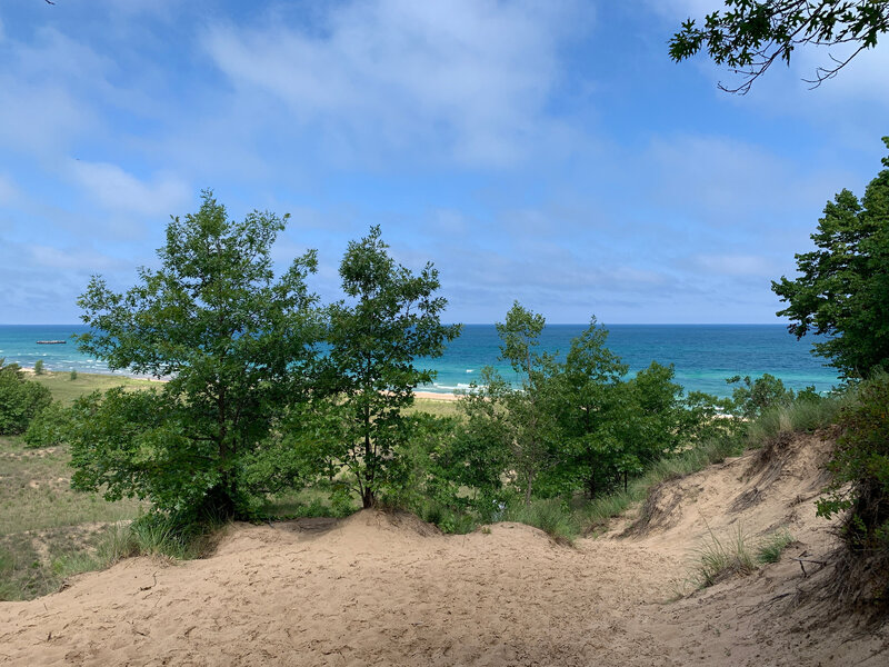 Looking down from the dune as you approach the beach.