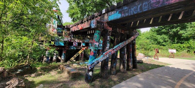 Hundred-year-old train trestle across Cottonwood Creek.