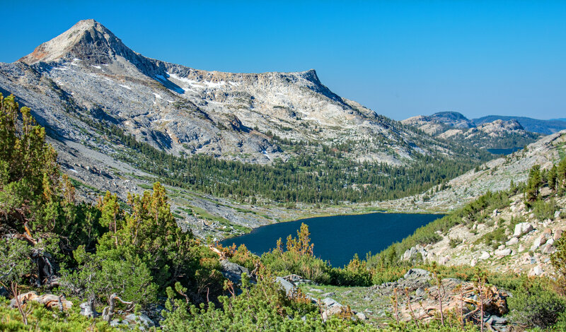 From Towerr Pass: Craig and Snow Peaks on the left, Lake Mary in the center, and Tilden Lake is just visible in the background on the right.