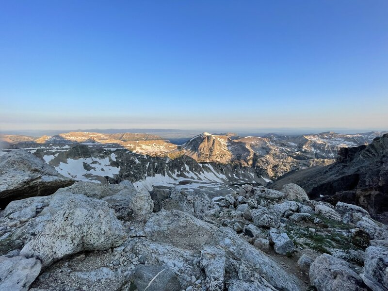 From the saddle looking west toward the Jedidiah Smith Wilderness and Alaska Basin. At sunrise.