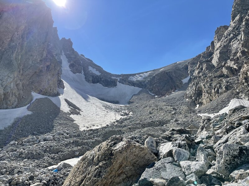 Looking up North Fork of the Garnet Canyon towards the Headwall.