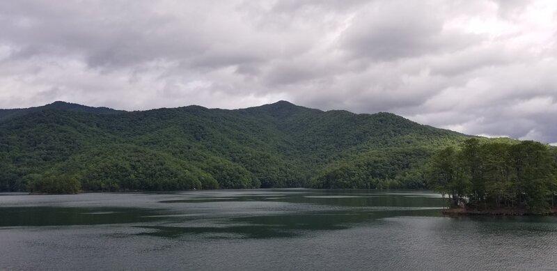 View of the mountain ridge from Fontana Dam.